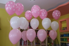 Μπουκέτα με ροζ-λευκά μπαλόνια